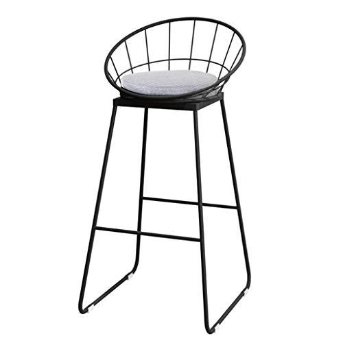 Taburetes taburetes con respaldo Reposapiés for la cocina moderna Taburete alto de tela Cojín sillas de comedor | Legs Bar Stool industrial metal | Negro Marco del Asiento gris Taburete Diseño de la v