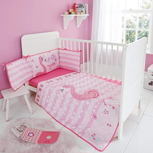Quest-Mart® Kinderbettwäsche-Set für Kinderbett, 3-teilig Fiona Flamingo