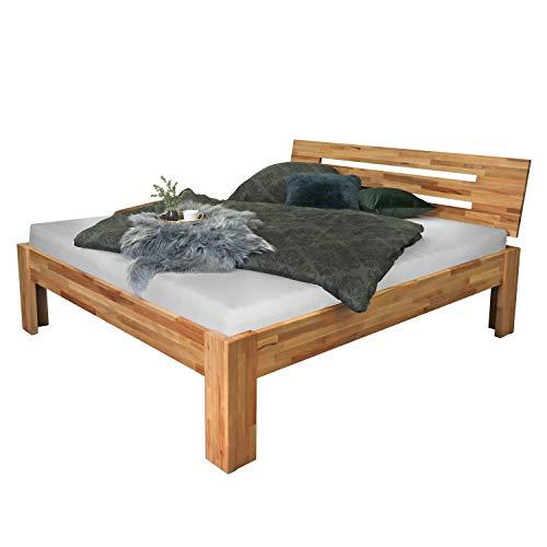 Bubema-SOLO Kernbuche-Bett massiv natur, bio-geölt Kopfteil Nr. 2, Größe 180 x 200 cm
