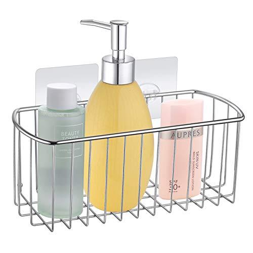 MaxHold Duschablagen ohne Bohren, SUS304 Edelstahl, Transparent Selbstklebend Rechteckiger Duschkorbe, Duschregal für Badezimmer
