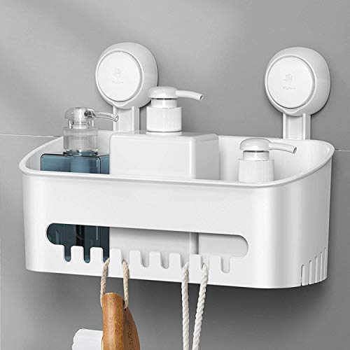 Ulinek Estanteria Ducha de Baño Sin Taladro Estante Cesta Ducha de Baño MAX 8KG con 2 Gancho Ventosa Fuerte Estantería Organizador Baño Cocina Pared, Accesorios baño(30, 5x12x20, 8cm)