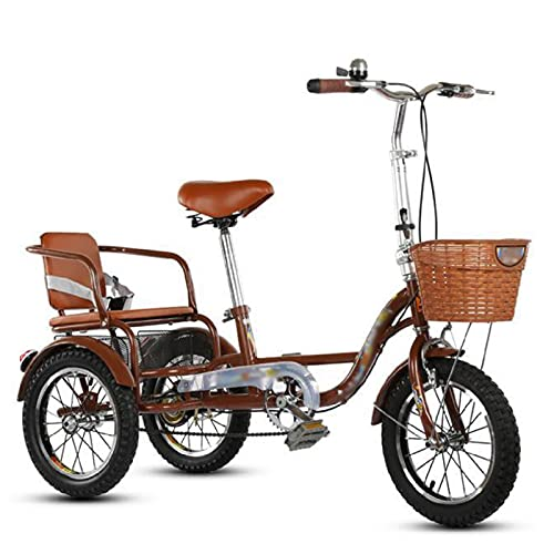 Triciclo para Adultos Bicicleta Bicicleta De Tres Ruedas De La Bicicleta De La Bicicleta De 14 Pulgadas con La Cesta De La Compra para Las Personas Mayores, Las Mujeres, Los Hombres(Size:Brown)
