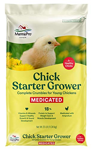 Manna Pro Chick Starter   Medicated Chick feed formulated with Amprolium   Prevents Coccidiosis   Feed Crumbles   25 Pounds