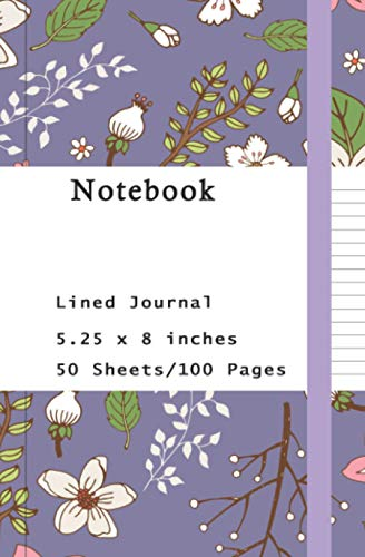 Notebook for girls flower: Lined and Blank Pages, Perfect for Journal, Medium 5.25 x 8 inches, 100 pages.