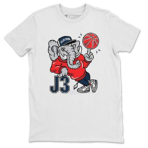 AJ3 Elephant White T-Shirt Jordan 3 True Blue Sneaker Outfit - AJ3 Matching Top (White/Small)