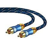 Cable de Subwoofer, Audio Coaxial RCA a RCA Macho a Macho Conector Chapado en oro de 24 K, Amplificador de Altavoz de DVD, Cable de Audio de Nailon Trenzado (5 m)