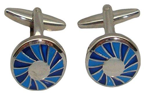 Bassin and Brown Blue/Silver Spiral Concentric boutons de manchette de