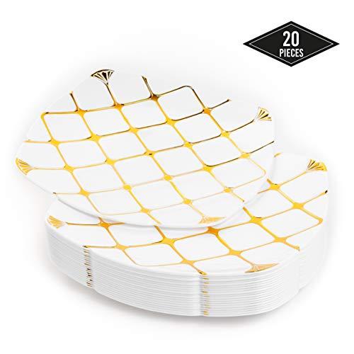 20 Elegante Premium Hartplastik Einwegteller mit Goldmuster, 25cm| Stabil & Wiederverwendbar Partyteller Kunststoff| Partygeschirr für Catering Hochzeiten Taufe Partys Weihnachten.