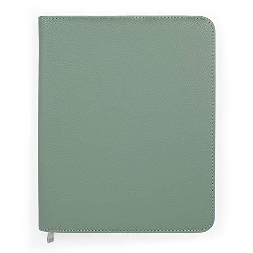 Boxclever Press Luxus A5 Einband. Buchhülle a5 aus Kunstleder mit Reißverschluss und praktischen Taschen. Mappe für A5 Terminkalender, Planer, Bücher & Kalender (Salbeigrün - texturiert)
