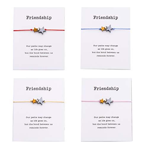 Pipitree 4Pcs Braided Wish Bracelet Gift Card Friendship Jewelry Charm Bracelet,Multicolor Star