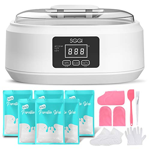 SGGI Paraffin Wax Machine with 3000ML Capacity, 6 Packs of Wax Blocks (2.6lb) for Hand and Feet, Paraffin Wax Bath Kit Help to Moisturize, Smoothen and Soften Skin, Gift for Women (White-Scent Free)