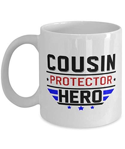 Primo Protector Héroe - Divertida y única familia sentimental 325 ml taza de café cumpleaños Navidad Día del Padre Idea para primo