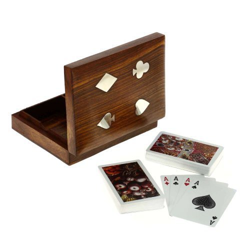 Artisans Of India Playing Cards Holder Box Standard Bicycle Double Deck Wooden Storage Case with Ace Designed Brass Inlay for Kids Adults