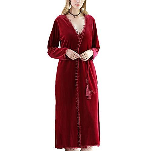 NIBABA Señoras Caen Camisón De Invierno Velvet Señoras Largo Otoño e Invierno Medio Espesor Cálido Pijamas Home Service Pijamas De Albornoz De Toalla (Color : Red, Size : Large)