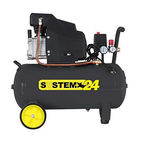Compressore d aria lubrificato ad olio da 24 Litri 1.500 Watt 8 bar SYSTEM+