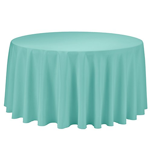 Remedios 120-inch Round Polyester Tablecloth Table Cover - Wedding Restaurant Party Banquet Decoration, Turquoise