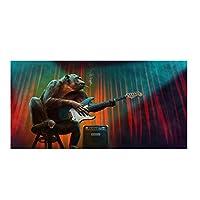 面白いアートモンキー演奏ギターキャンバス絵画アートポスターとプリント動物壁アート写真リビングルームの装飾15.7x47.2in(40x120cm)x1pcs