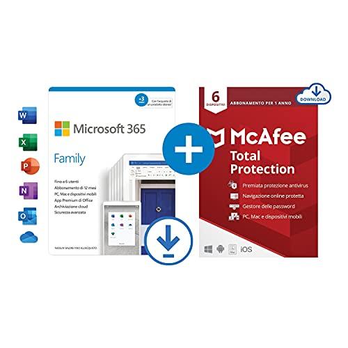 Microsoft 365 Family | fino a 6 persone | 1 abbonamento annuale |12+3 Mesi | PC Mac | Codice via email + McAfee Total Protection 2021 | 6 Dispositivi | 1 Utente, 1 Anno | PC Mac | Codice via email