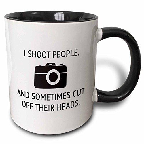 3dRose I Shoot People And Sometimes Cut Off Their Heads Mug, 11 oz, Black