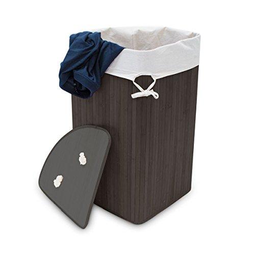 Relaxdays 10019052 Panier à linge pliant corbeille pliable rectangle en bambou 64 litres 65 cm HxlxP 65 x 49,5 x 37 cm, noir