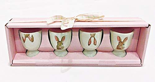 Rae Dunn Magenta Osterhase Keramik Eierbecher Eierbecher Eierhalter 4er Set in Oster-Geschenkbox