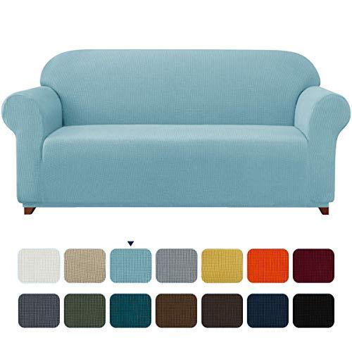 subrtex Sofabezug für 4 Personen Big Sofa Stretch Sofahusse 4sitzer Elastisch überzug für XL Sofa mit Armlehne Abwaschbar (4 Sitzer, Hellblau)