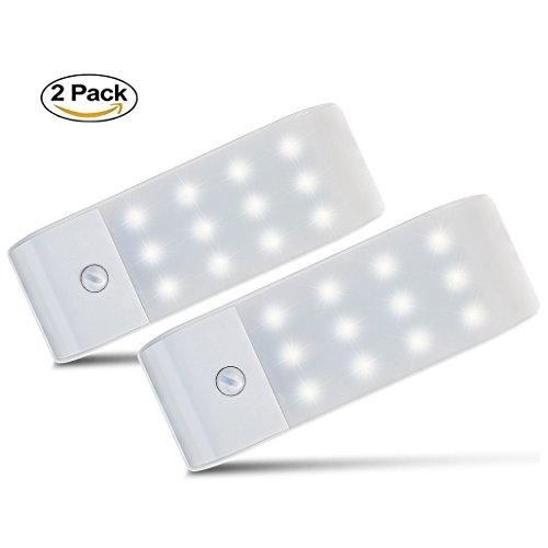 Motion Sensor Light LED Under Cupboard Night Light with Rechargeable Battery DIY Stick-on Anywhere Security Lights and Emergency Lights for Hallway Bedroom Drawer Wardrobe Cupboard Lights (2 Pack)