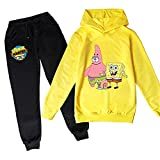 Proxiceen Juego de sudadera con capucha y pantalón de chándal de 2 piezas para niños y niñas con diseño de Bob Esponja A6. 140 cm