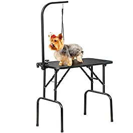 Yaheetech Foldable Pet Dog Grooming Table Dog Cat Drying Beauty Table with Adjustable Folding Fixed Arm Folding Legs Maximum Capacity 100KG Black