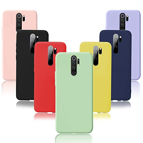 Meeter 7 x Funda Xiaomi Redmi Note 8 Pro, 7 Unidades Carcasas Ultra Fina Silicona TPU de Alta Resistencia y Flexibilidad Caso Colores (Negro+Rojo+Azul Oscuro+Rosa+Lavanda+Amarillo+Verde)
