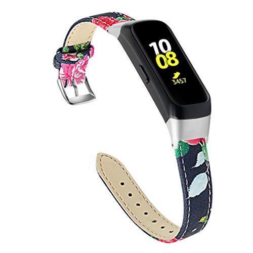 NICERIO Pulseira de relógio compatível com Samsung Galaxy Fit SM-R370 – Pulseira de couro para relógio, pulseira de couro bovino, pulseira de substituição compatível com Galaxy Fit SM-R370, Conforme mostrado 1, 11.5x1.2 cm