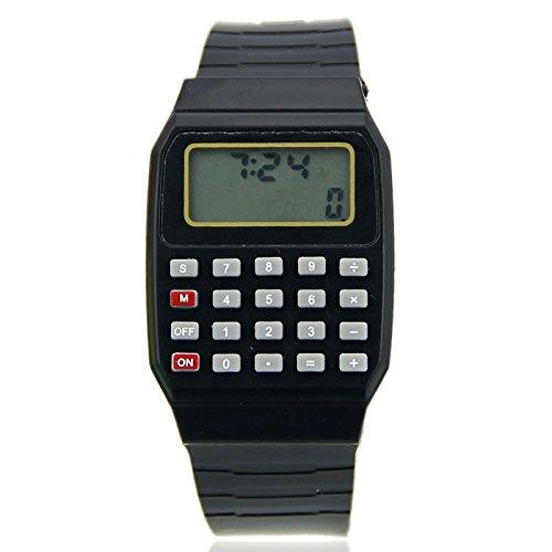 Cold Toy Fad Kinder Silikon Datum Multi-Purpose Kinder elektronische Taschenrechner Armbanduhr, schwarz
