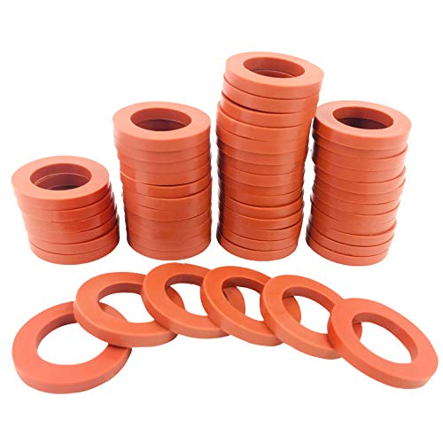 SHOWNEW 50 PCS Garden Hose Washers Rubber Washers Seals, Hose Gaskets Heavy Duty Water Hose Washers O Rings Leakproof Fittings for Standard 3/4 Inch Garden Shower Hose and Water Faucet