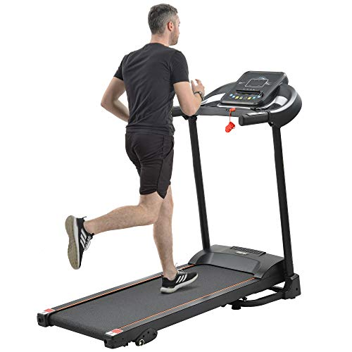 Merax Folding Treadmill for Home Use, Easy Assembly Compact Running Machine with Speaker, Incline and Cup Holder