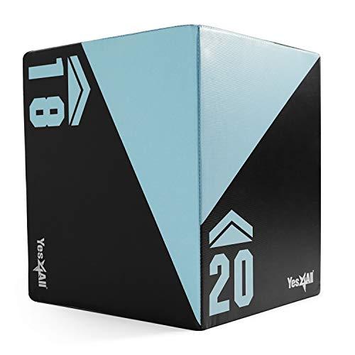 Yes4All 3-in-1 Foam Plyometric Jump Box/Soft Plyo Box for Crossfit, Jump Training & Conditioning - 20x18x16 Plyometric Box - Support 450 lbs