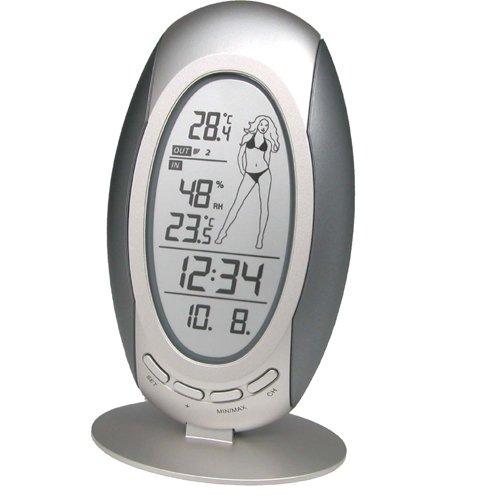 Wetterstation WS 9723-IT mit Vorhersage von Wettersituation, Anzeige von Wettertendenz und Innen- und Außentemperatur, Wettermädchen das sich der Temperatur entsprechend anzieht