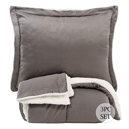 Sweet Home Collection Comforter Set 3 Piece Sherpa Soft and Luxurious Plush All Season Warmth Down Alternative Reversible to Solid Color with 2 Shams, Queen, Gray