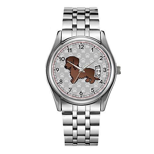 Montre de luxe pour homme étanche jusqu'à 30 m avec date et date - Montre bracelet à quartz décontractée pour Noël - Bracelet chocolat long avec motif teckel