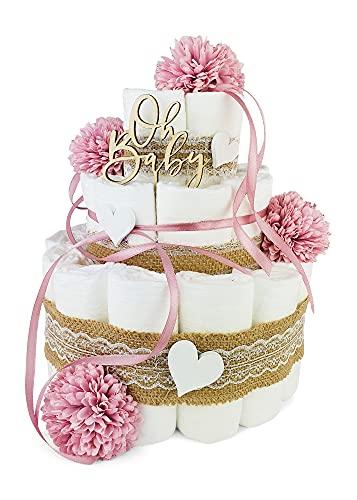 Premium Baby Windeltorte   Vintage Stil 3-stöckig mit Blumen in altrosa   perfektes Mädchen Geschenk zur Geburt, Taufe, Babyparty