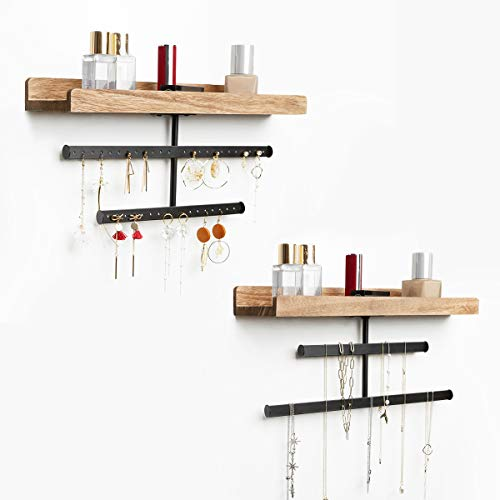 Jewelry Organizer Wall Mount Hanging Wood Jewelry Holder Display with Shelf for Necklaces Bracelet Earrings Ring and Cosmetic Jewelry Hanger Wall Set of 2 Jewelry Organizer Vanities