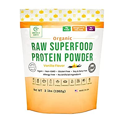 Emerald Earth Certified Organic Raw Superfood Protein Powder - 3LB - for Shakes and Smoothies - Plant Based - Soy Free - Non GMO - Vegan - Cold Pressed – 20G of Protein per Serving (Vanilla)