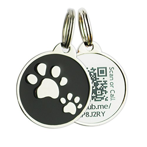 PINMEI Zine Alloy Scannable QR Code Pet ID Tag for Dog Cat, Powered by PetHub (Black)