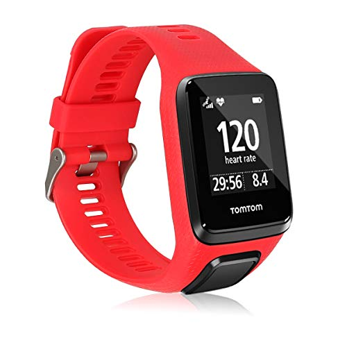 kwmobile Silicone Watch Strap Compatible with Tomtom Adventurer/Runner 3/Spark 3/Golfer 2 - Fitness Tracker Band with Clasp - Red