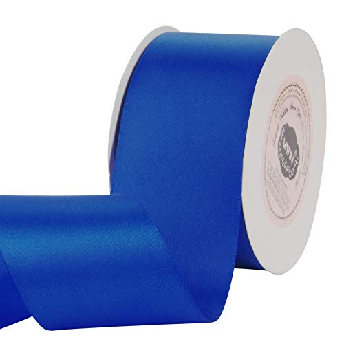 VATIN 2 inches Solid Royal Blue/Sapphire Blue Double Faced Polyester Satin Ribbon for Craft, Gift Wrapping, Hair Bow, Wedding Deco 25 Yard Spool