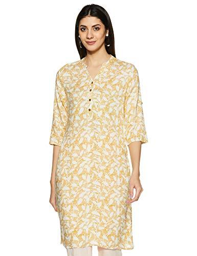 Rangmanch By Pantaloons Women's Rayon Straight Kurta (110059260_Yellow_X-Large)