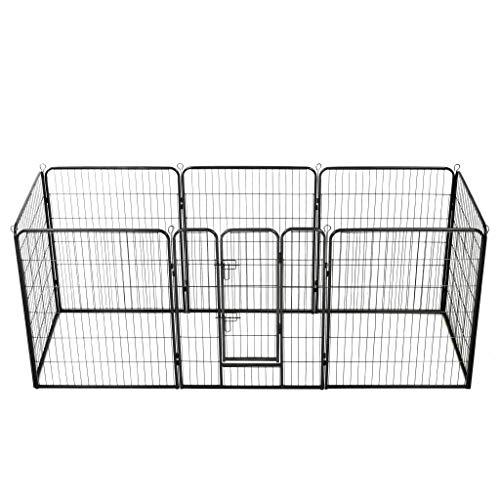 pedkit Caseta para Conejos, Gatos y Perros pequeños Corral para Perros 8 Paneles de Acero 80x100 cm Negro