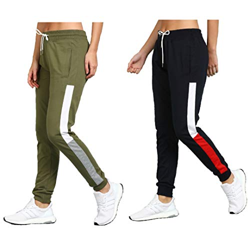 Alan Jones Clothing Women's Coton Solid Track Pants Joggers Pack of 2
