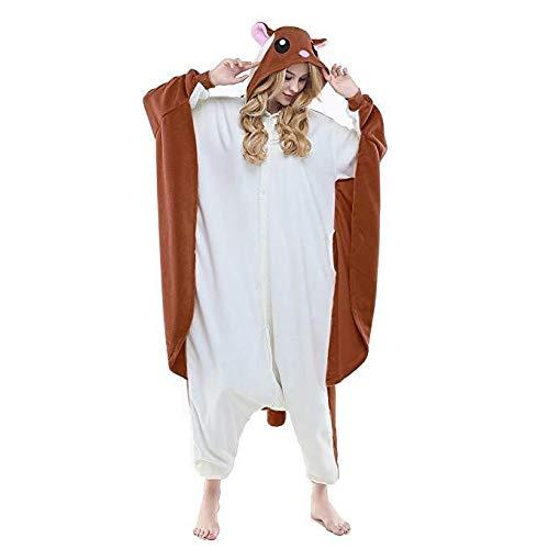 Unisex Schlafanzug Fleece Womens Fliegen Eichhörnchen Onesies Cosplay Kostüme Halloween Mädchen Tier Typ Cosplay Pyjamas Pyjamas Erwachsene Kostüm Jumpsuit (Color : Flying Squirrel A, Size : S)