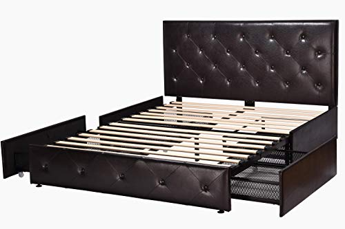 Amolife Upholstered Diamond Stitched Queen Bed Frame with 4 Drawers and Headboard/Platform Bed/Mattress Foundation with Storage,Dark Brown Faux Leather