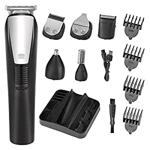 Beard Trimmer Mens Hair Clipper Mustache Trimmer Shaver Body Groomer Trimmer and Nose Trimmer Electric Razor Professional 6 in 1 Waterproof Grooming Kit